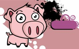 Little big head pig cartoon background Stock Image