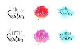 Free Little Big Sister. Lettering For Babies Clothes Royalty Free Stock Photos - 130562298