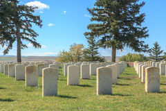 Little Bighorn Battlefield Custer National Cemetery. Graves of unknown veterans at Little Bighorn Battlefield Custer National Cemetery, Montana, USA Stock Photo