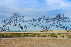 Little Bighorn Memorial Sculpture. The Memorial Sculpture by Native artist Colleen Cutschall commemorates the Native Americans (Crow tribe) who died fighting for Royalty Free Stock Photo