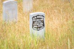 Little Bighorn-Schlachtfeld-Nationaldenkmal, MONTANA, USA - 18. Juli 2017: Grundstein Generals George Armstrong Custer Letzter St Lizenzfreies Stockbild