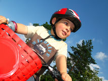 Little biker. Little boy with bicycle, boy is learning on bike Royalty Free Stock Photography