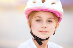 Little biker girl portrait Stock Photography