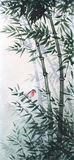 The little bird in a bamboo grove. The picture in Japanese style Stock Photos