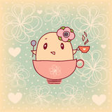 Little bird and cup vector illustration