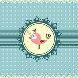 Little bird cute greeting card Stock Photo