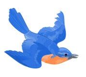 A little bird in flight. Cute elegant blue orange vector illustration abstract Royalty Free Stock Photos