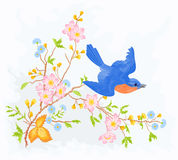 Little bird in flight in a flower bush. Spring illustrations and vector art eps 8 without gradients Royalty Free Stock Photo