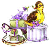 Little bird, gift and flowers background. For kid Birthday card. watercolor Stock Images
