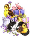 Little bird, kitten, gift and flowers background. Little bird, cat, gift and flowers background for kid Birthday card. watercolor Royalty Free Stock Image