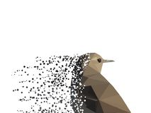 Little bird low poly fading in pixels. White pixels abstract Stock Photo