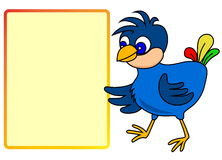 Little bird with message board Royalty Free Stock Images