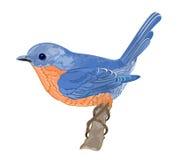 Little bird orange blue. A little bird cute elegant blue orange vector illustration abstract Royalty Free Stock Photo