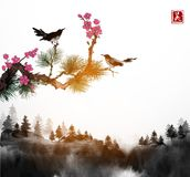 Little bird, pine tree and sakura branches and forest trees in fog. Traditional oriental ink painting sumi-e, u-sin, go. Hua. Contains hieroglyph - happiness royalty free illustration