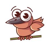 A little bird sits on a branch and looks at you. stock illustration