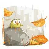 Little Bird Sitting on a Rock. In a Rainy Day vector illustration