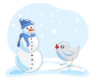 Little bird and snowman Royalty Free Stock Photography
