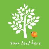 Little bird under big tree Royalty Free Stock Images
