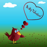 Little bird with Valentine's Day message Royalty Free Stock Photo