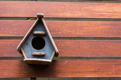 Little birdhouses. On wooden fence Royalty Free Stock Photography