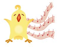 A little birdie sings Illustration for vocal lessons for children. Vector Stock Images