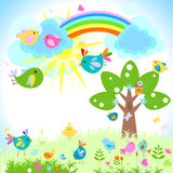 Little birds. Flying  in a bright spring day Stock Image