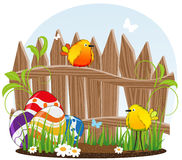Little birds and Easter eggs Stock Photography