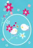 Little birds on flower floral embroidery Royalty Free Stock Photos