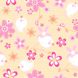 Little birds with flowers seamless pattern Royalty Free Stock Images