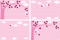 Little Birds Labels. Four labels in pink with little birds stock illustration