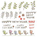 Little birds, plant and new year greeting words Royalty Free Stock Photos