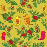 Little birds sing songs. Seamless texture. Stock Image