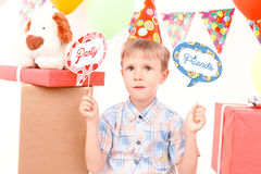 Little birthday boy during party Royalty Free Stock Images