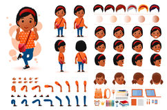 Little Black African Girl Student Character Creation Kit Template with Different Facial Expressions. Hair Colors, Body Parts and Accessories. Vector Stock Photos