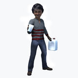 Little Black boy holding cup and contatiner 1. Little Asian boy holding a cup and container of a healthy beverage Stock Photo