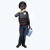 Little Black boy holding cup and contatiner 2. Little Black boy holding a cup and container of a healthy beverage Royalty Free Stock Photos
