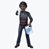 Little Black boy holding cup and contatiner 4. Little Black boy holding a cup and container of a healthy beverage Royalty Free Stock Image