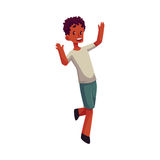 Little black boy raising hands in happiness and excitement. Cartoon vector illustrations isolated on white background. Happy African American boy in shorts and Stock Image