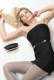 Little black dress. Portrait of beauty girl in black dress Royalty Free Stock Image