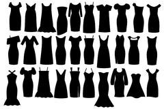 Little black dress. Big set of little black dress silhouettes Royalty Free Stock Photo