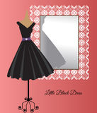 Little black dress. Beside decorative mirror all occasion royalty free illustration