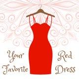 The little black dress hanging on a hanger. The little red dress hanging on a hanger. Cocktail dress. Evening festive attire. Fashion week vector illustration Stock Image
