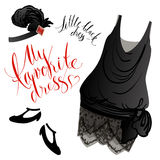 Little black dress. Vector image of black retro dress, shoes and headgear Stock Photography