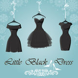 Little black dress. Winter Snowflakes background Stock Image