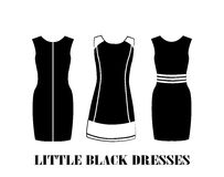 Little black dresses. Set of  little black dresses Stock Photos