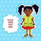Little black girl card Royalty Free Stock Image