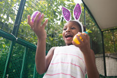 Little black girl celebrating easter. Royalty Free Stock Photography