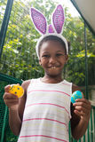 Little black girl celebrating easter. Royalty Free Stock Photos