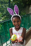 Little black girl celebrating easter. Stock Photography