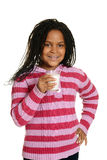 Little black girl with glass milk. Isolated little black girl with glass milk Stock Images